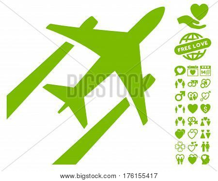 Air Jet Trace icon with bonus lovely pictures. Vector illustration style is flat iconic eco green symbols on white background.