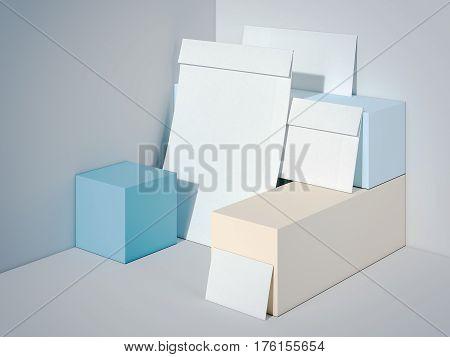 Branding mockup in modern studio with color boxes. 3d rendering