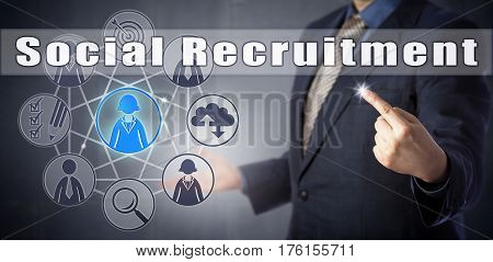 Male human resources manager in blue shirt and business suit is initiating Social Recruitment. Human resources management metaphor social media and computing concept for social hiring.