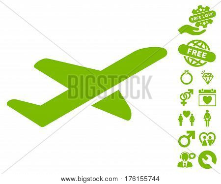 Airplane Takeoff icon with bonus valentine clip art. Vector illustration style is flat iconic eco green symbols on white background.