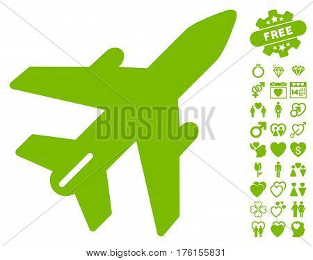 Airplane icon with bonus dating graphic icons. Vector illustration style is flat iconic eco green symbols on white background.