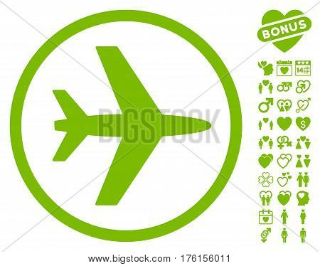 Airport icon with bonus love clip art. Vector illustration style is flat iconic eco green symbols on white background.