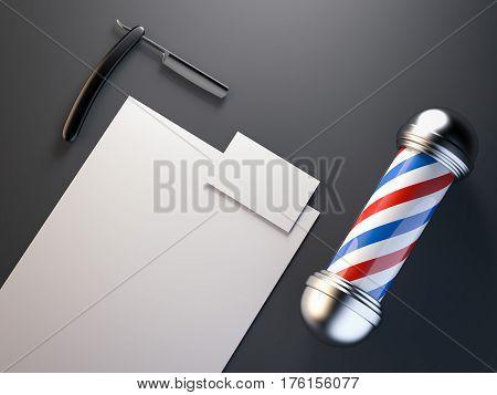 Barber shop mock up with red, blue pole. 3d rendering