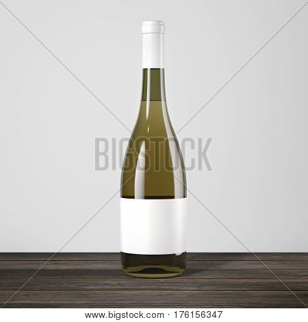 White wine bottle on a wooden table. 3d rendering