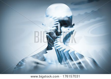 Man face with mechanical cogwheels overlay, double exposure. Innovation and creativity concept. 3d illustration.