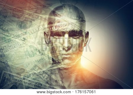 Generic human man face and dollars double exposure. Concept of money exchange and investment. 3D illustration