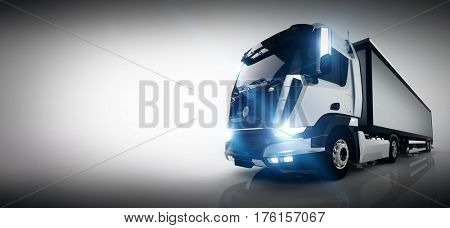 Professional cargo delivery truck with long trailer. Banner, business card composition. Generic, brandless vehicle design. 3D rendering