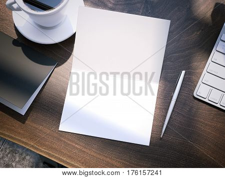 Wooden office table with blank notepad. 3d rendering