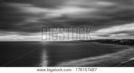 Black and white panorama, the beach of Falesia. Albufeira
