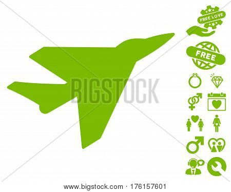 Intercepter pictograph with bonus dating design elements. Vector illustration style is flat iconic eco green symbols on white background.