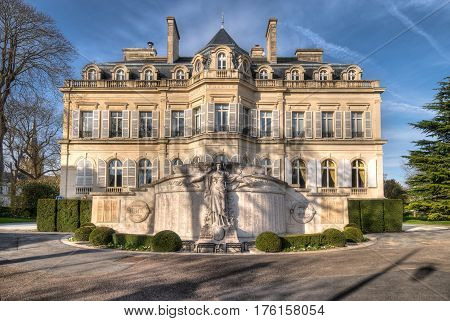 Epernay town hall facade in aerly spring, Champagne France