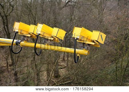 Fleet, Hampshire, Uk - March 11Th 2017: Average Speed Cameras In Operation On The M3 Motorway To Red