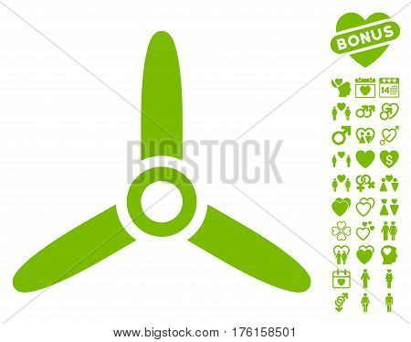 Three Bladed Screw pictograph with bonus love graphic icons. Vector illustration style is flat iconic eco green symbols on white background.
