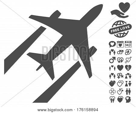 Air Jet Trace pictograph with bonus dating pictures. Vector illustration style is flat iconic gray symbols on white background.