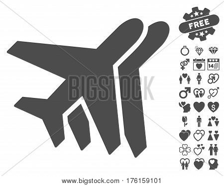 Airlines pictograph with bonus valentine pictograph collection. Vector illustration style is flat iconic gray symbols on white background.