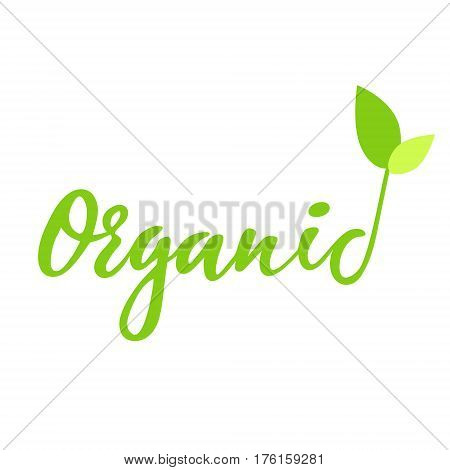 Organic hand drawn logo, lable. Vector illustration eps 10 for food and drink, restaurants, menu, bio markets and organic products. Brush lettering, calligraphy