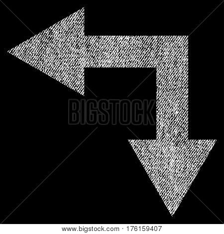 Bifurcation Arrow Left Down vector textured icon for overlay watermark stamps. Fabric white vectorized texture. Symbol with dust design. Rubber seal stamp with fiber textile structure.