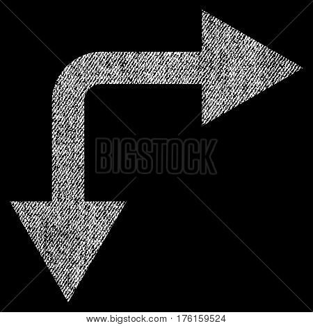 Bifurcation Arrow Right Down vector textured icon for overlay watermark stamps. Fabric white vectorized texture. Symbol with dust design. Rubber seal stamp with fiber textile structure.