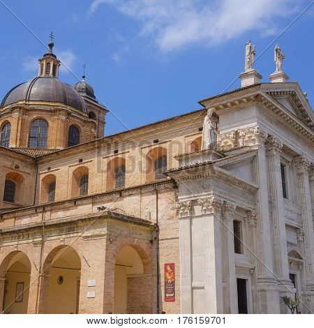 Urbino, Italy - August, 1, 2016: City Cathedral in Urbino, Italy