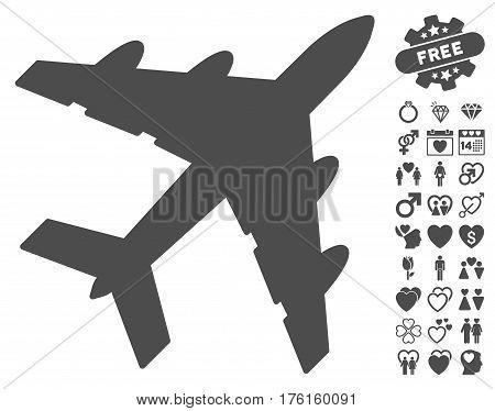 Bomber icon with bonus valentine pictures. Vector illustration style is flat iconic gray symbols on white background.