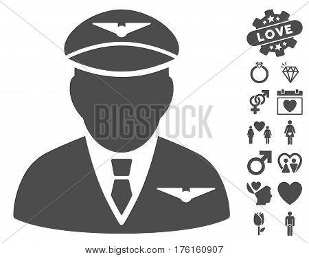 Pilot pictograph with bonus valentine symbols. Vector illustration style is flat iconic gray symbols on white background.