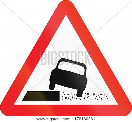 Warning Road Sign Used In Cyprus - Soft Shoulder