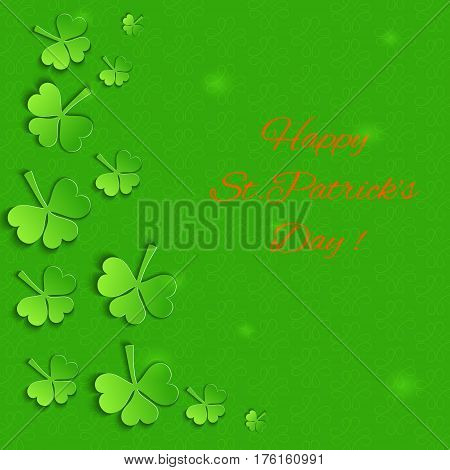 Emerald Background with Paper Shamrock Leaves and Celtic Symbols.  Template for St.Patricks Day. Vector EPS 10