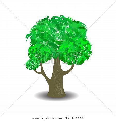 Green tree with brush textured crown. Vector illustration on white background. Hand-painted leaf crown. Handdrawn tree with shadow isolated. Summer forest element in cartoon style. Nature care symbol