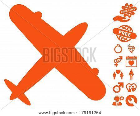 Aeroplane pictograph with bonus valentine clip art. Vector illustration style is flat iconic orange symbols on white background.