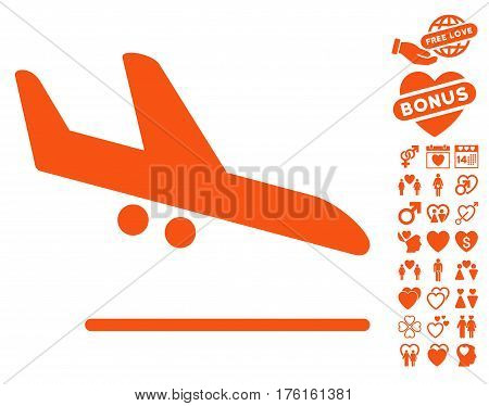 Aiplane Landing icon with bonus valentine icon set. Vector illustration style is flat iconic orange symbols on white background.