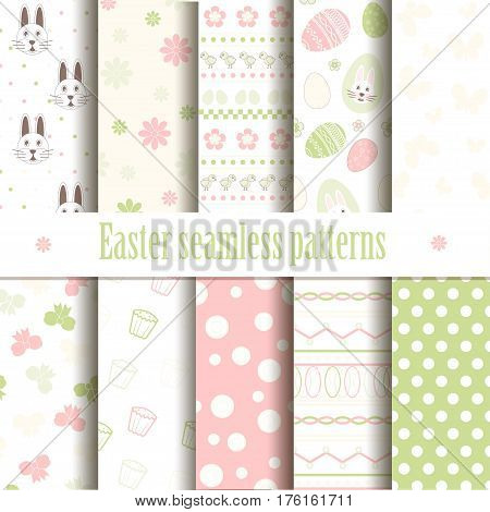 Cute easter vector patterns. Endless texture can be used for printing onto fabric and paper or scrap booking. Seamless pattern with chickens rabbits flowers easter eggs for your design