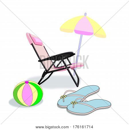 A pink folding chair, a parasol, a pair of flip flop sandals, and a beach ball.