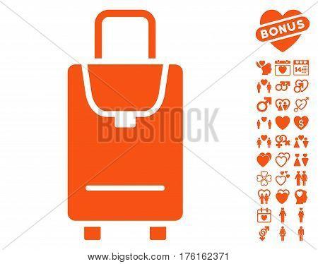 Carryon icon with bonus dating symbols. Vector illustration style is flat iconic orange symbols on white background.