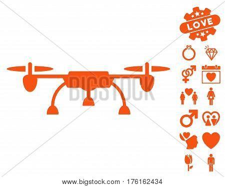 Drone icon with bonus love pictograms. Vector illustration style is flat iconic orange symbols on white background.