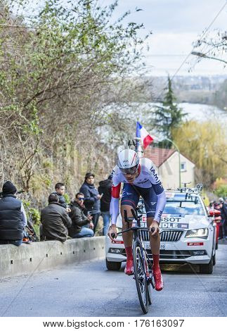 Conflans-Sainte-HonorineFrance-March 62016: The Austrian cyclist Matthias Brandle of IAM Cycling Team riding during the prologue stage of Paris-Nice 2016.