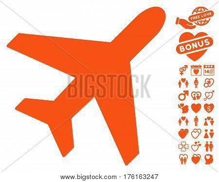 Plane icon with bonus lovely pictograph collection. Vector illustration style is flat iconic orange symbols on white background.