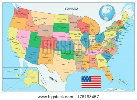 Highly detailed political map of the USA including Alaska and Hawaii.