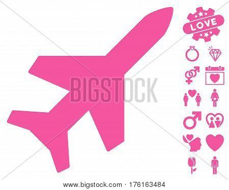 Aeroplane icon with bonus valentine symbols. Vector illustration style is flat iconic pink symbols on white background.