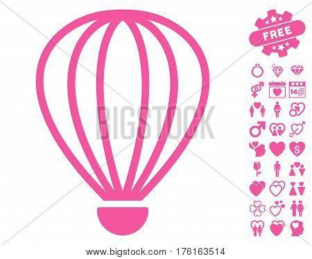 Aerostat pictograph with bonus dating symbols. Vector illustration style is flat iconic pink symbols on white background.