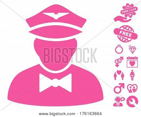 Airline Steward icon with bonus love design elements. Vector illustration style is flat iconic pink symbols on white background.