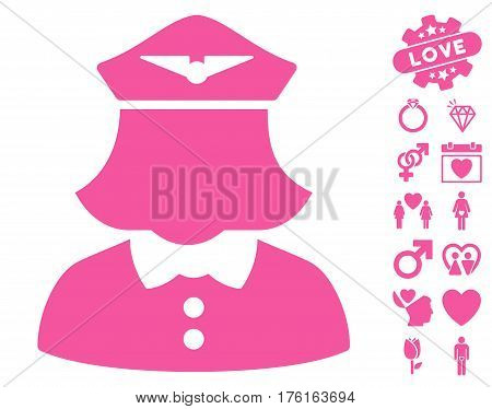 Airline Stewardess pictograph with bonus dating pictograph collection. Vector illustration style is flat iconic pink symbols on white background.