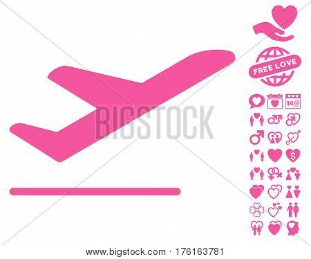 Airplane Departure pictograph with bonus valentine clip art. Vector illustration style is flat iconic pink symbols on white background.