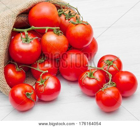 Canvas Sack Full Of  Red Cherry Tomatoes