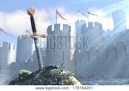 3D illustration of legend about sword in a stone