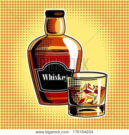 Whiskey alcohol drink pop art hand drawn vector illustration.