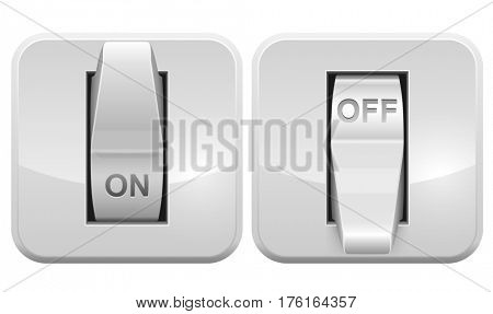 Electric switch web icon isolated on white background. Raster copy. 3d