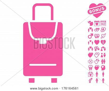 Carryon pictograph with bonus dating pictures. Vector illustration style is flat iconic pink symbols on white background.