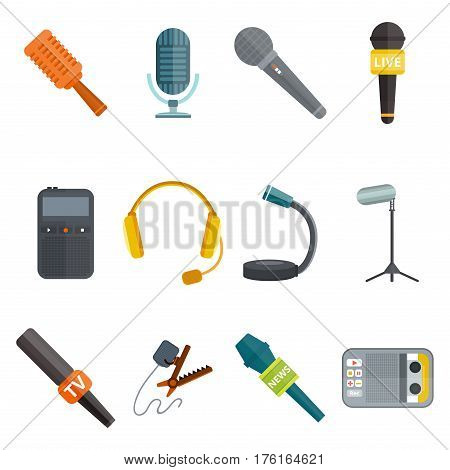 microphones types vector icons. Journalist microphone, interview music studio Web broadcasting, vocal, tv show isolated white background, pair of earphones, headphones set, tape recorder or dictaphone