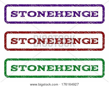 Stonehenge watermark stamp. Text caption inside rounded rectangle with grunge design style. Vector variants are indigo blue, red, green ink colors. Rubber seal stamp with unclean texture.