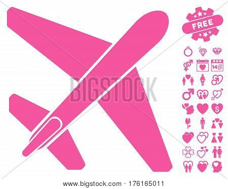 Jet Airplane pictograph with bonus dating icon set. Vector illustration style is flat iconic pink symbols on white background.